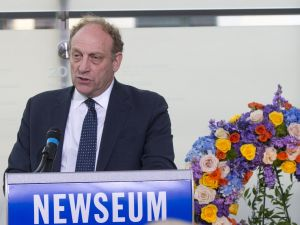 Michael Oreskes speaks at the rededication of the Journalists Memorial at the Newseum.