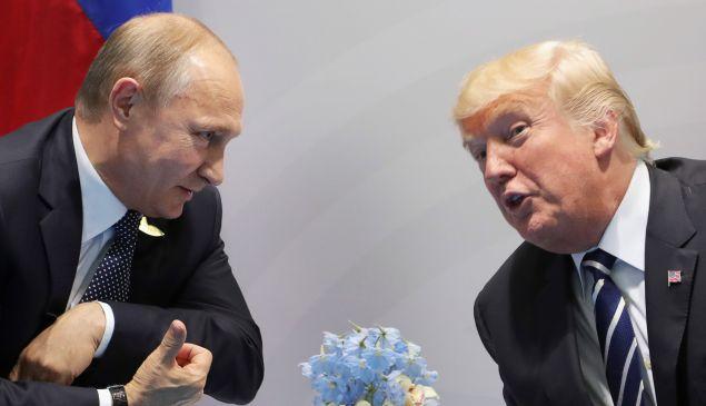President Donald Trump and Russian President Vladimir Putin on July 7, 2017.