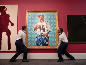 A work by Kehinde Wiley owned by Mario Testino is hung in preparation for sale.