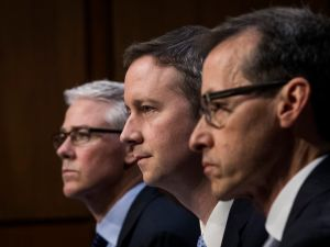 (L to R) Colin Stretch, general counsel at Facebook, Sean Edgett, acting general counsel at Twitter, and Richard Salgado, director of law enforcement and information security at Google, testify during a Senate Judiciary Subcommittee on Crime and Terrorism hearing titled 'Extremist Content and Russian Disinformation Online' on Capitol Hill, October 31, 2017 in Washington, DC.