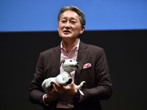 Sony President and CEO Kazuo Hirai introduces Aibo during a press preview in Tokyo.
