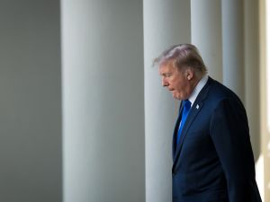 President Donald Trump walks to the Rose Garden on November 2, 2017.