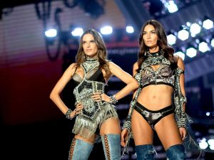 Alessandra Ambrosio and Lily Aldridge walk the runway during the 2017 Victoria's Secret Fashion Show In Shanghai.