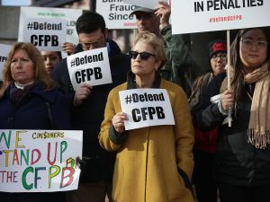Supporters of the Consumer Financial Protection Bureau.