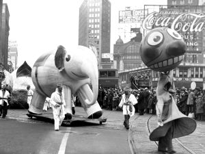Floats make their way through the streets of Manhattan during the 1933 Macy's Thanksgiving Day Parade.