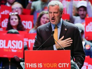 Mayor Bill de Blasio speaks at a campaign rally with Sen. Bernie Sanders at Terminal 5 in Manhattan.