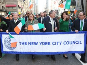 City Council Speaker Melissa Mark-Viverito and members of the New York City Council march up 5th Avenue in the 2016 St. Patrick's Day Parade.