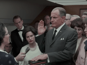 Jennifer Jason Leigh, Woody Harrelson and Kim Allen in LBJ.
