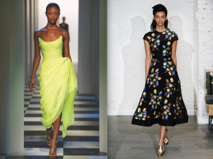 Oscar de la Renta neon citrine silk-chiffon gown (left) and Lela Rose full-skirted dress tulip-print dress (right).