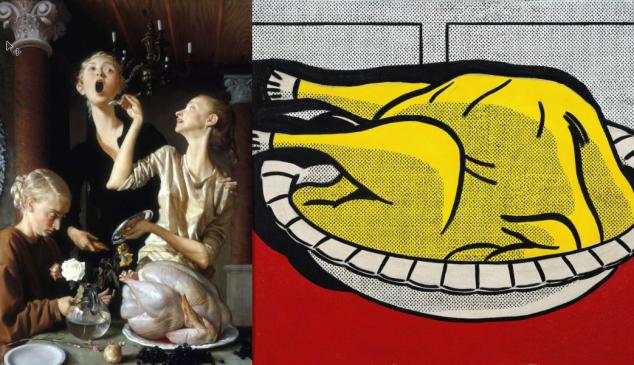 John Currin, Thanksgiving, 2003 (left) and Roy Lichtenstein, Turkey, 1961 (right).