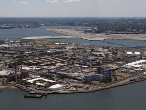 An aerial view of the Rikers Island prison.