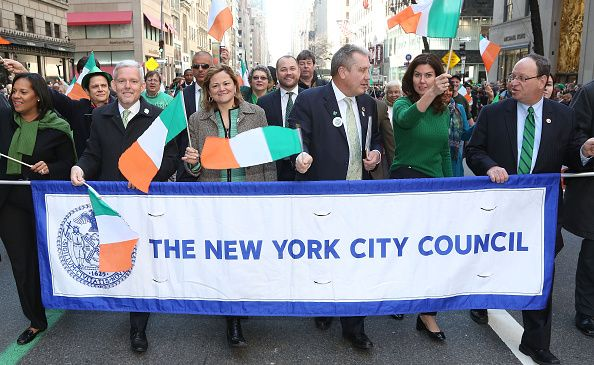 City Council Speaker Melissa Mark-Viverito and other Council members at the St. Patrick's Day Parade in March.