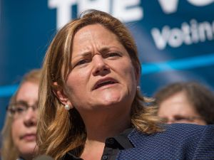 City Council Speaker Melissa Mark-Viverito speaks at a rally.