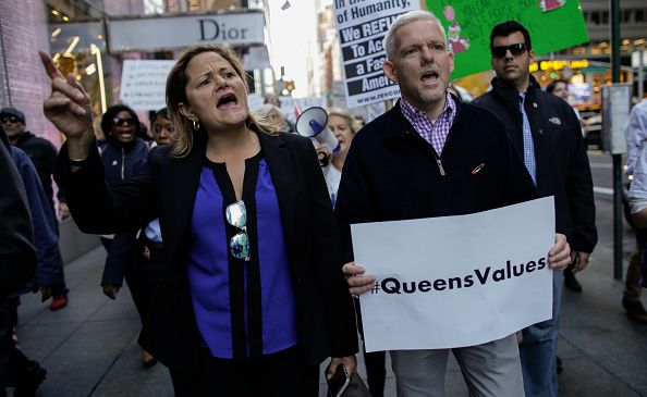 City Council Speaker Melissa Mark-Viverito and Queens Councilman Jimmy Van Bramer participating in a protest against President Donald Trump.