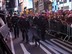NYPD officers are seen during New Year's Eve 2016.