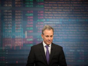 New York Attorney General Eric Schneiderman listens during a Bloomberg Television interview.