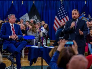 Manhattan Councilman Corey Johnson, right, and Mayor Bill de Blasio, left, host a town hall meeting in Manhattan.