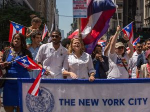 City Council Speaker Melissa Mark-Viverito, center, with Bronx Councilwoman Vanessa Gibson and Brooklyn Councilman Jumaane Williams, at a parade.