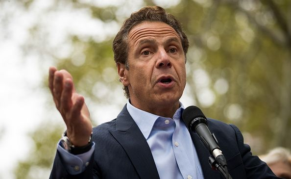 Gov. Andrew Cuomo speaks at a rally. (Photo by Drew Angerer/Getty Images)