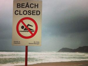 A closed beach.