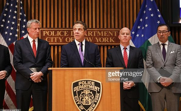 Gov. Andrew Cuomo, center, discusses a deadly terror attack in Lower Manhattan, with Mayor Bill de Blasio, left, and Police Commissioner James, O'Neill, right.