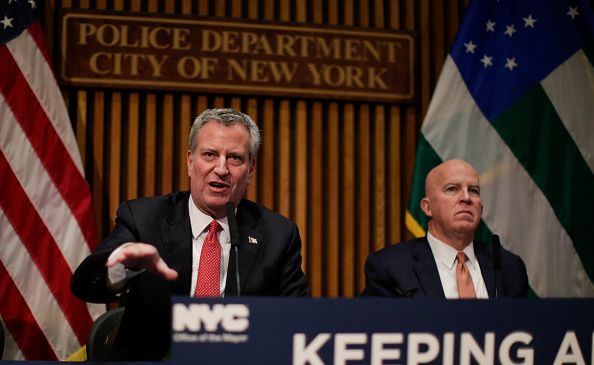 Mayor Bill de Blasio and Police Commissioner James O'Neill at a press conference at One Police Plaza.