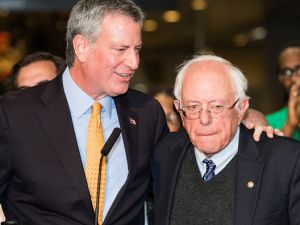 Mayor Bill de Blasio, left, and Sen. Bernie Sanders (I-Vt.), at the mayor's campaign rally ahead of the November general election.