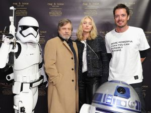 Mark Hamill, Elsa Hosk and Marcus Wainwright.