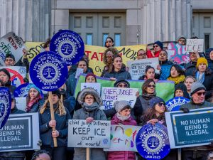 Unions, immigrant rights groups and community organizations held a rally on Dec. 7, 2017 at Brooklyn Borough Hall to call on the Office of Court Administration to immediately implement a policy to prohibit ICE agents from entering state courthouses.
