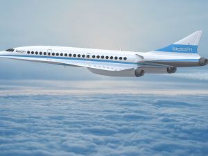 A rendering of Boom Supersonic's jet, currently in development