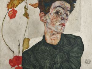 Egon Schiele, Selbstbildnis mit Lampionfrüchten (Self-Portrait with Chinese Lantern Plant), 1912. Oil, opaque color on wood.