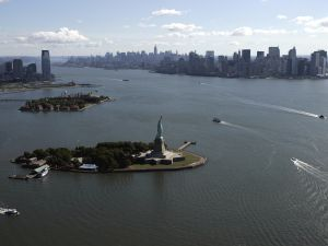 Aerial view of New York Harbor.