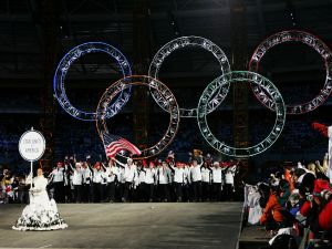 The U.S. Olympic team at the opening ceremony of the Turin 2006 Winter Olympic Games.