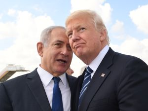 Israeli Prime Minister Benjamin Netanyahu speaks with U.S. President Donald Trump on May 23, 2017 in Jerusalem.