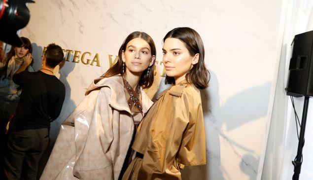 Kaia Gerber and Kendall Jenner at the Bottega Veneta show during Milan Fashion Week.