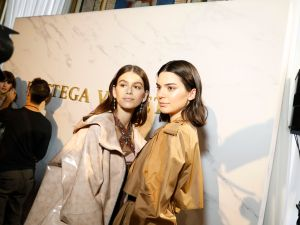 Kaia Gerber and Kendall Jenner at the Bottega Veneta show during Milan Fashion Week.