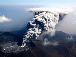 Mt. Shinmoedake in Kerishima, Japan erupts for the first time in six years, sending a plume of ash 300 meters into the air, on October 11.