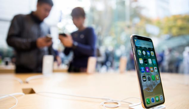 An iPhone X on display at an Apple store on November 3, 2017 in Tokyo, Japan.