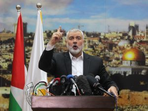 Hamas leader Ismail Haniy delivers a speech over President Donald Trump's decision to recognize Jerusalem as the capital of Israel, in Gaza City on December 7, 2017.