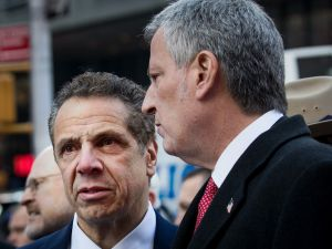 NEW YORK, NY - DECEMBER 11: (L to R) New York Governor Andrew Cuomo and New York City Mayor Bill de Blasio arrive for a press briefing outside the New York Port Authority Bus Terminal, December 11, 2017 in New York City. The Police Department said that one person was in custody for an attempted terror attack after an explosion in a passageway linking the Port Authority Bus Terminal with the subway. (Photo by )