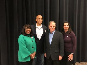 From left: Rep. Terri Sewell (D-Ala.), Sen. Cory Booker, Doug Jones and his wife.