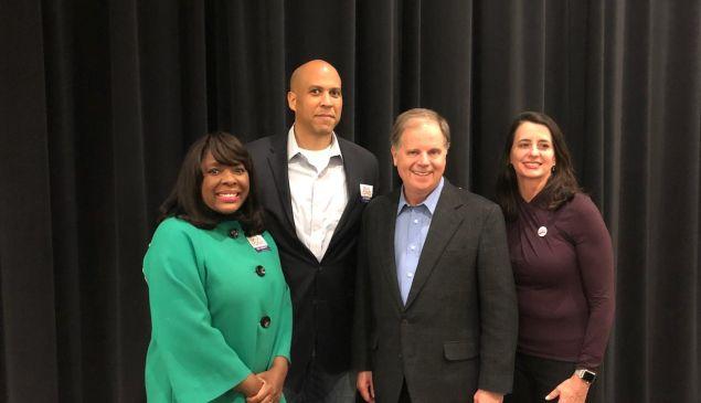 From left: Rep. Terri Sewell (D-Ala.), Sen. Cory Booker, Doug Jones and his wife.