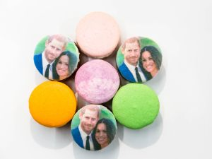 If you're looking to truly celebrate Prince Harry's impending engagement in style (or alternately, you want to eat your feelings since he's not marrying you), New York-based Dana's Bakery creates glitter macarons. They also make specialty orders, customized and shipped nationwide. Dana's Bakery French Macaron Special Order Custom Flavors, DanasBakery.com
