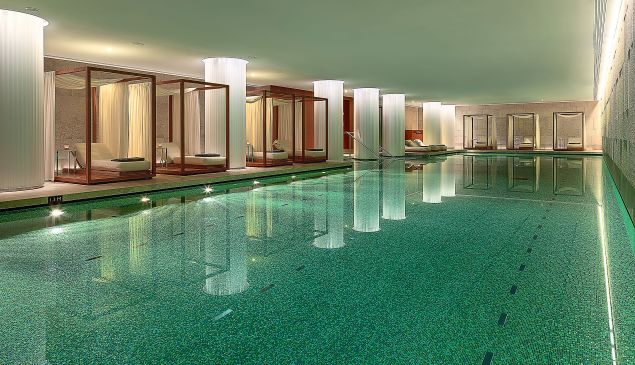 The 25-meter pool at the Bulgari Hotel in London is a must-visit.