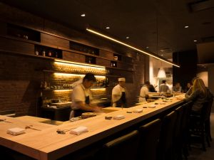 The bustling sushi bar at Shuko.