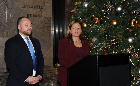 Newly elected City Council Speaker Corey Johnson and former City Council Speaker Melissa Mark-Viverito attend a lighting ceremony at The Empire State Building in honor of World AIDS Day on Nov. 30, 2015 in New York City.