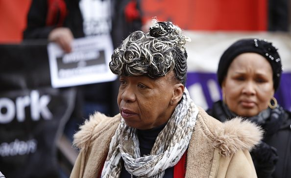 Gwen Carr, mother of Eric Garner, attend rally calling on the U.S. Attorney to investigate the death of Ramarley Graham at the hands of police officers on Jan. 12, 2016.