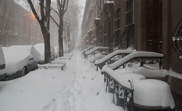 """Mayor de Blasio announces travel ban as up to 30"""" of snow is expected to fall. New York prepares for historic East Coast Blizzard. (Photo by Louise Wateridge/Pacific Press/LightRocket via Getty Images)"""