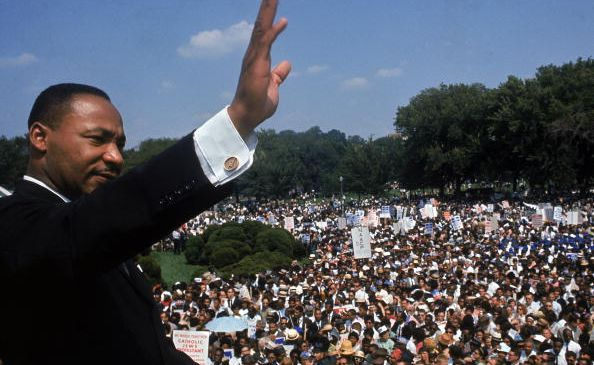 Dr. Martin Luther King Jr. addressing crowd of demonstrators outside the Lincoln Memorial during the March on Washington for Jobs and Freedom. (Photo by Francis Miller/The LIFE Picture Collection/Getty Images)
