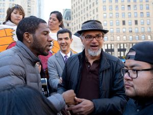 Surrounded by supporters, city politicians, and media, sanctuary movement activist Ravi Ragbir attends an annual meeting with ICE officials on March 9, 2017 at the Federal immigration court building in downtown New York City.